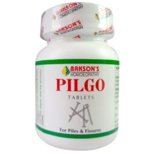Homeopathic Medicine for Piles Bleeding and Painful, Fissures Anus, Constipation, Backache - Baksons Pilgo Tablets (75tab)