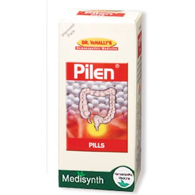 Homeopathic Medicine for Painful Piles and Haemorrhoids (Bleeding and Non Bleeding), Fissures - Medisynth Pilen Pills (25g)