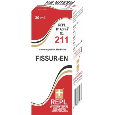 Homeopathic Medicine for Fissures, Burning and Itching of Anal Area, Blood and Pain in Passing Stool - REPL Dr. Advice No 211 (Fissur-En) (30ml)
