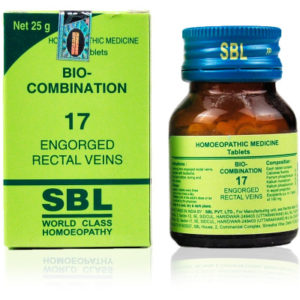 Homeopathic Medicine for Piles with Pain and Bleeding (Haemorrhoids), Fissures - SBL Bio Combination 17